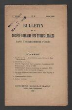 █ Bulletin Société LORRAINE Etudes Locales 1929 N°2 █