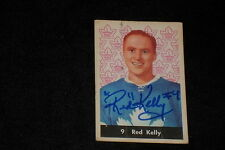 HOF RED KELLY 1961-62 PARKHURST SIGNED AUTOGRAPHED CARD #9 MAPLE LEAFS