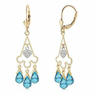 4.80 CTW 14k Solid Gold Chandelier Diamond Earrings with Natural Blue Topaz
