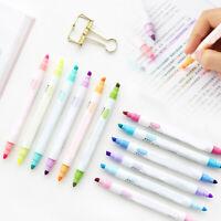 12Pcs Marker Pens Milk liner Headed Fluorescent Pen Art Highlighter Drawing HOT