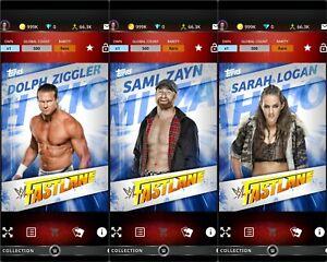 Topps WWE SLAM Digital 2018 Fastlane Blue Dolph Ziggler Sami Zayn Sarah Logan
