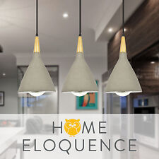 Modern Cafe Industrial Wood Timber Concrete Cement Hanging Ceiling Pendant Light