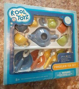 KOOL Toyz Porcelain Tea Party 16 pics color set; dishwasher safe Fun ware: 8+.