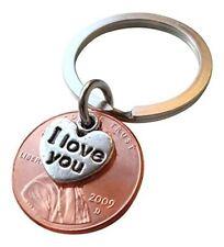 I Love You Heart Charm Layered Over 2009 Penny Keychain 8 Year Anniversary