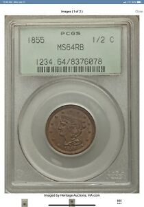 1855 Braided Hair 1/2C Half Cent  PCGS  MS64RB  1/2C Very Low Mintage, Superb!