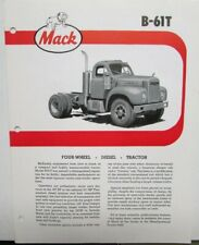 1963 Mack Trucks Model B 61T Diagram Dimensions Sales Brochure Original