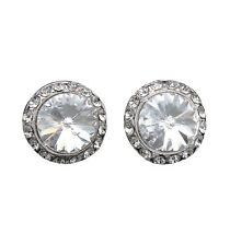 20MM Clear AUTHENTIC Swarovski Elements Round Crystal Earrings-USA MADE PIERCED
