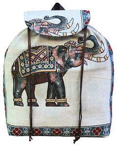 Men Ladies Hippie Backpack Rucksack Travel School College Shoulder Elephant Bag