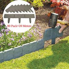80x/pack Dark Grey Stone Effect Cobbled Plastic Garden Lawn Edging Plant Border