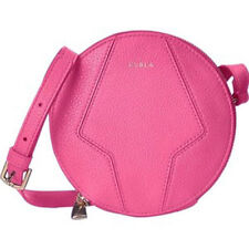 "Furla Perla Pink Pebble Leather Mini Zip Round Cross body Bag Purse Hobo 6"" Nwt"