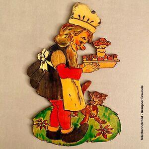 🎁 1960er Graupner Graubele: Zwerg mit Fliegenpilz-Gericht 18cm Laubsägearbeit
