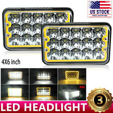 """4x6"""" LED Headlights Yellow DRL Sealed For Chevrolet S10 1997 1996 1995 R10 1987"""