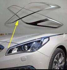 Chrome Front Head Light Lamp Cover Trim for 2015-2017 Hyundai Sonata MK9 ABS