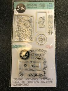 SIZZIX FRAMELITS 7 DIES 8 STAMPS CHRISTMAS MINI ENVELOPE LINERS NEW 663151 TAGS