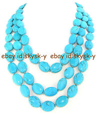 """Necklace Single 13mmx18mm Egg Turquoise Gemstone Beads Knotted54"""""""