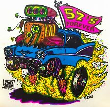 vTg 1957 Chevrolet Chevy Bel Air Rat Fink Rod BDR Rats Hole T-Shirt Iron On NOS