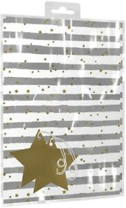 Gold Star White & Silver Gift Wrap 2 x Sheets & Tags x 2 Wedding Birthday Baby