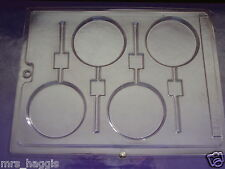 Plain Round Lolly Lollipop Mould 4 Shapes on 1 Ideal for Chocolate 7 cm dia