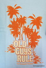 """Old Guys Rule """" On Permanent Vacation """" 2XLarge Light Blue Short SleeveTee Shirt"""