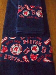 NEW CUSTOM DECORATED RED SOX  3 PC TOWEL SET BLUE