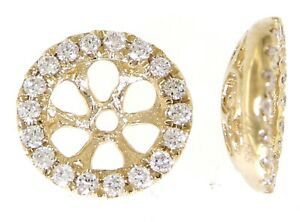 Solid 14K Yellow Gold 0.18CT Real Diamond Round Jacket Earrings Jewelry For Her