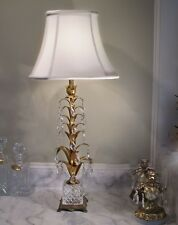 Toleware Italian Tole Roses Lamp Florentine Gilt Marble Albaster Chic Shabby Vintage Rare