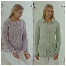KNITTING PATTERN Womens Long Sleeve Lacy Jumper &Jacket Collar DK 4527 King Cole