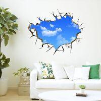 Sky 3D Broken Wall Mural Removable Quote Wall Sticker Art Vinyl Decal Room Decor