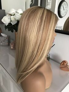 "Glueless Highlights Ombre Blonde Brown Lace Bob 16"" 100% Virgin Human Hair Wig"