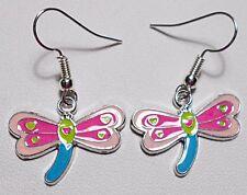 Dangle earrings - pink+blue enamel dragonfly