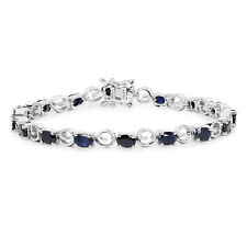 925 Sterling Silver Bracelet 7.68 ct Genuine Blue Sapphire Gemstone 7.50 inches