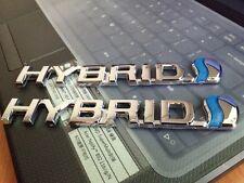 2PCS New 3D HYBRID Car Front Rear Fender Tailgate Chrome Emblem Badge Decal Logo