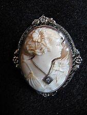 ANTIQUE CAMEO w DIAMOND NECKLACE  14K WHITE GOLD *ART NOUVEAU*c.1890