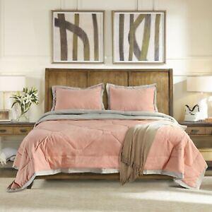 Kasentex Hotel Reversible Quilted Comforter Set 2-tone Grey Border Design