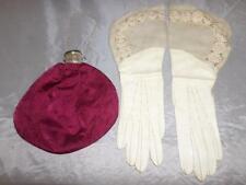 *Antique ladies wristlet purse bag and glove set -with expanding bottleneck top*