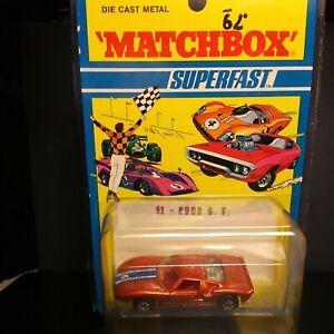 Matchbox Superfast #41 Ford GT Wide Wheels RARE DARK YELLOW BASE 1971 Blister...