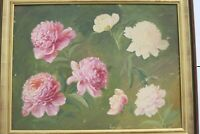 VINTAGE FRENCH OIL ON CANVAS PAINTING IMPRESSIONIST STILL LIFE FLOWERS M ABDAN