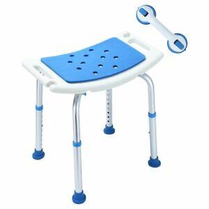 NEW HEALTH LINE Eva Heavy Duty Padded Shower Chair W Suction Grab Bar White/Blue