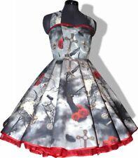 50er Kleid zum Petticoat Gothik Vampir Mystik Rosen grau rot