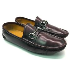 GUCCI Mens Dark Burgudny Patent Leather Horsebit Driving Moccasins US 7.5 EU 41