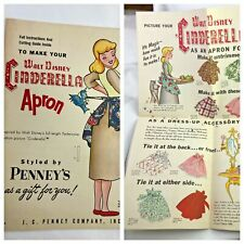 Vintage JC PENNY Disney Cinderella Apron Sewing Pattern  Must See