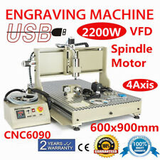 CNC6090 Router 4Axis 2200W VFD Spindle Engraving Milling Cutting Machine USB