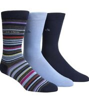Calvin Klein Mens 3 Pack Casual Socks One Size (US 7-12) Blue/Multicolor New
