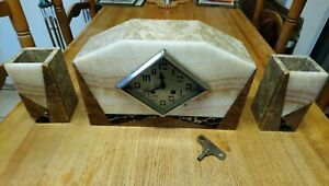 Galibert French Art Deco 8 Day Marble Chiming Clock with garnitures