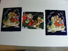 3 Vintage Mid Century Metallic Foil Die Cut Christmas Greeting Card Lot Used
