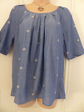 Lovely Next size 14 loose cotton blue top with tie at the back of the neck