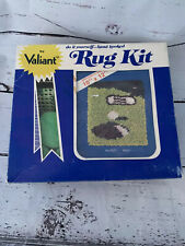 "Valiant Rug Kit Golf Theme 10"" x 12"" Latch Hook Yarn Kit Hooked Squared Green"