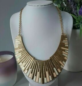Retro Statement Gold Tone Metal Collar Bar Chain Necklace Egyptian Revival Mod