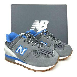 New Balance Baby Enfant Boys Gray Blue Sneaker Lightweight Comfy Cute Size 4
