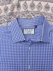 "THOMAS PINK - Blue-White - Gingham Check - Button Cuff - Shirt -18"" Collar"